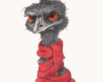 Winter Woollies Emu Print - Made to Order