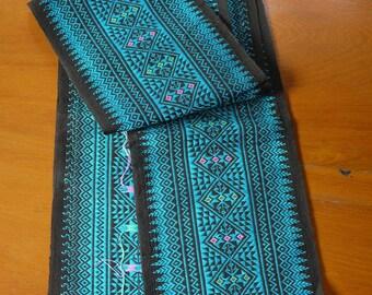 SALE   - Sarong decoration, Lao Thai cotton textile - sarong decoration style - narrow Thai decor piece - cotton weaving