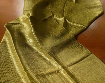 "Traditional raw ""glass"" silk textile - asian ethnic silk textile - handwoven Lao Thai scarf silk weaving - fine glass silk gold green"
