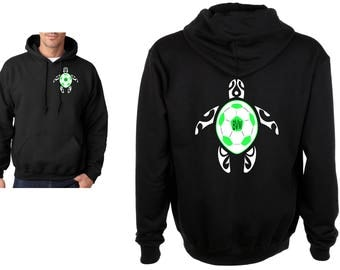 Turtle Soccer Ball with Monogram Heavy Blend Adult or Youth Hooded Sweatshirt