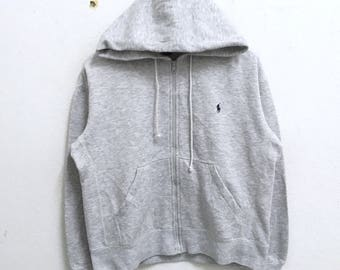 RARE!!! Polo Sport By Ralph Lauren Small Pony Embroidery Grey Colour Zipper Hoodies Hip Hop Swag XL (Ladies) Size