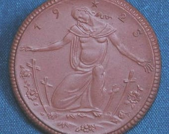Rare and Historical German Lottery Coin Made Out of Porcelain, Dated 1925, Uncirculated, 41 mm.
