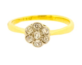 Wonderful Vintage Mid-Century Seven Old Cut Diamond Cluster Flower Ring in 18ct Yellow Gold (3018565)
