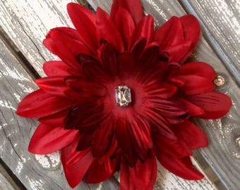Red, large silk flower hair clip