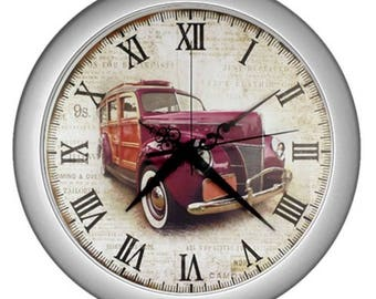 Retro Wall clock Old fashion vintage car image Wall garage Old car collection