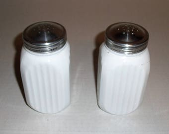 Vintage Large White Milk Glass Salt and Pepper Shakers.  Stove Top Shakers.