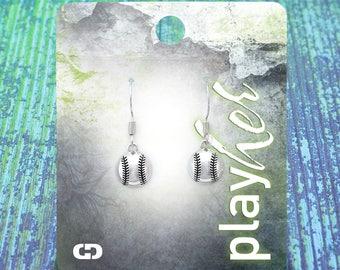 Silvertoned Softball Dangle Earrings - Great Softball Gift! Free Shipping!