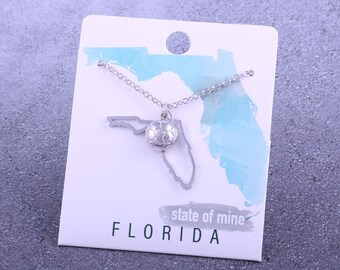 Customizable! State of Mine: Florida Soccer Silvertoned Necklace - Great Soccer Gift!