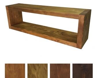 Solid wood wall shelf - 24 cm deep - rustic book shelf - wood shelf -. Sizes & colors