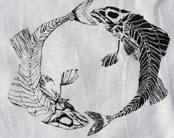 Screenprint Fish skeletons patch