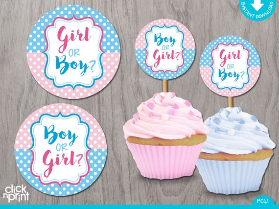 Gender Reveal Print Yourself Baby Shower Cupcake Toppers Or Stickers