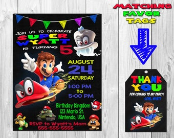 Super Mario Odyssey Birthday Party Invitation, Mario Odyssey Invitation, Mario Odyssey Invite, Mario Favor Tags