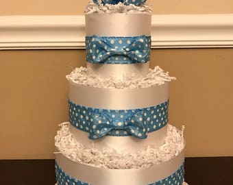 Diaper Cake Blue & White Polka Dot Boys 3 Tier Baby Shower Centerpiece