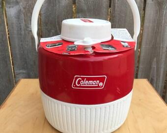 Coleman Cooler, Coleman Water Jug, Vintage Coleman Water Cooler Jug, Vintage Coleman Red Water Jug, Vintage Coleman Gear, Coleman Products