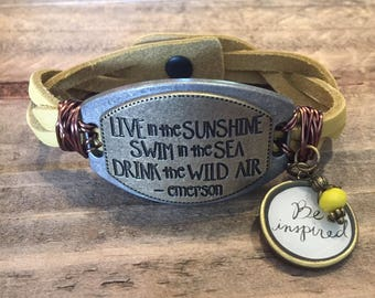 Emerson quote Live in the sunshine Swim in the sea Drink the wild air light yellow braided leather bracelet