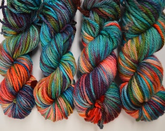 Cozy Bulky, hand dyed yarn, handdyed yarn, hand dyed bulky yarn, hand painted yarn, bulky yarn, bulky weight, Paradise