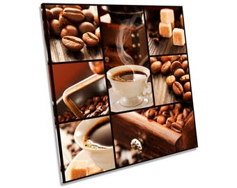 Coffee Beans Cafe Kitchen Brown CANVAS WALL ART Square Print