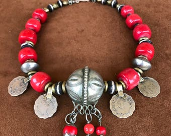 Rare Collection of beautiful Extra Large Antique Coral Beads with old Silver beads from Morocco and old coins from India.
