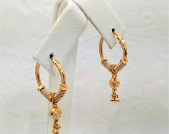 GOLDSHINE Earrings 22K Solid Yellow White Gold Hoop Bali teens & women ~STUNNING