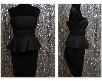 90's White House Black Market Strapless Black Dress (4) *Mint Condition
