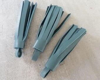 3 tassel 5 cm fringe blue gray leather