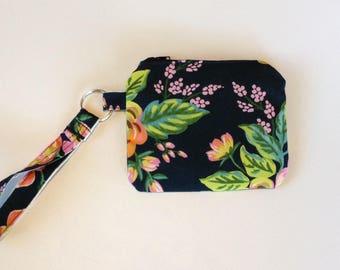 Wristlet keychain Custom makeup bag zipper custom bag cosmetic bag pouch  - blue floral  zippered pouch