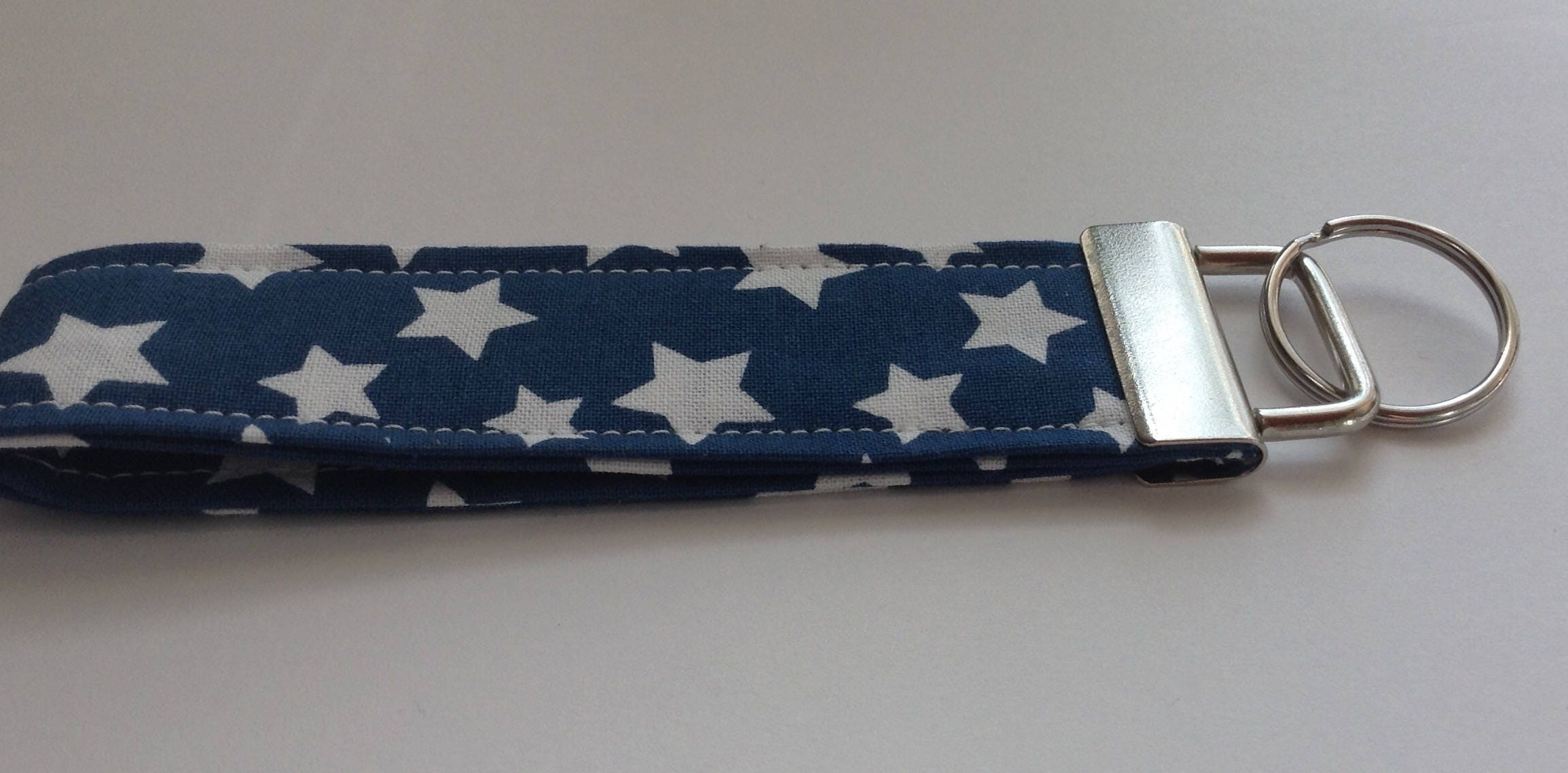 wristlet keychain key fob key ring fabric keychain women s girls  accessories- blue stars fabric 5ed3a346e