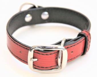 Dog Collar Genuine Lizard Red/Black