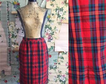 Vintage 1950/1960 Red Plaid Cotton Skirt. Medium. Red, green, yellow, metal zipper, single pocket.