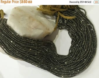 Exclusive Quality Natural Pyrite Micro faceted Roundell 2 - 2.25 mm approx , 14 inch strand