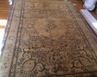 Persian rug antique very nice hand knotted wool earth tone 6.7 x 10.2
