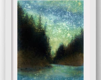 WILDWOOD, Forest Rain Painting, limited edition art print, nature art, Oregon, Northwest
