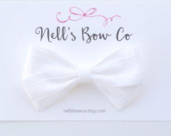 White Pin Tucks - Baby, Toddler, Girls, Fabric, Hair Bow, Headband, Hair Clip, Hair Accessories, Folded Hair Bow, Baby Shower Gift