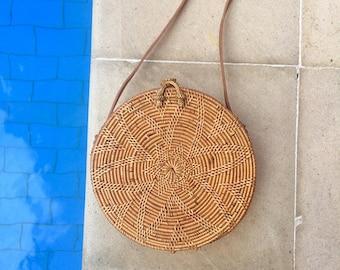 Rattan Woven Bag / Round Circle ATA Bag / Woven Basket / Boho Shoulder Bag / Weaved Bag / Weaved Round Bag
