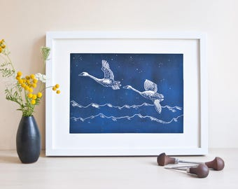 Swans linocut, original printmaking, bird linoprint, limited edition, animal illustration, linocut print, artwork, handprinted, blue