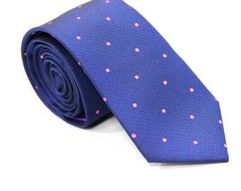 Navy Blue Skinny Tie with Pink Polka Dots | Dotted Poka Ties for Men | Spotted Ties for Wedding | Groomsmen Ties