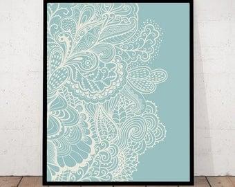 Floral Lace Print, Lace Decor, Meditation Decor, Yoga Wall Art, Zen Wall Art, Meditation Wall Art,  Floral Print, Zen Poster