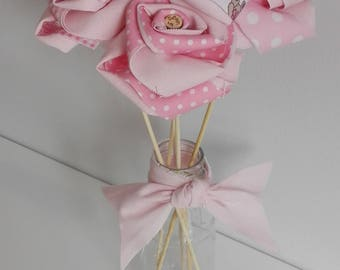 Forever Fabric Flowers - 5pc Baby Bouquet, great for Baby Showers, Newborn Gifts, Nurseries or for the special keepsake