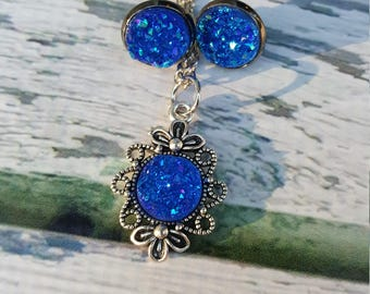 Police Box Jewelry, Blue Gem Jewelry, Druzy Gem Jewelry, Fantasy Jewelry, Sapphire Blue, September Birthstone, Druzy Earring, Druzy Pendant