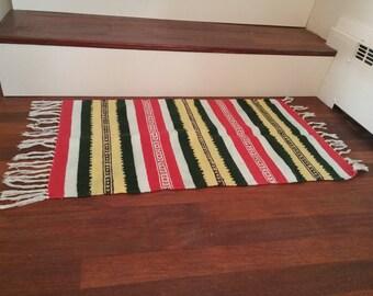 Vintage Kilim Rug | Handwoven, Striped Kitchen Rug, Kitchen Mat, Bath Mat, Southwestern Style, Indian tribal, Boho Style, Fringed rug