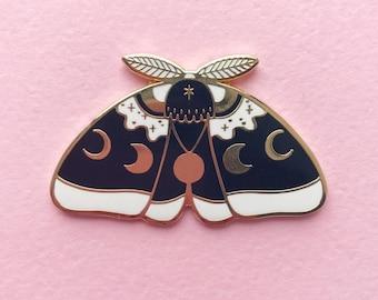 Black MoonMoth hard enamel lapel pin