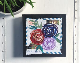 Original Flower Painting // Paint and Torn Paper Collage // Original Collage and Painting // Red, Blue Purple Flowers // 6 x 6 Inch Painting