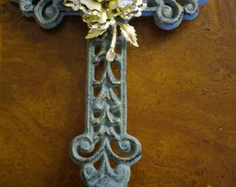 Green rod iron free standing jeweled cross. Vintage gold brooch