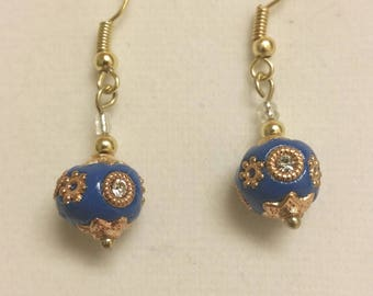 Handmade Indonesian polymer clay bead earrings