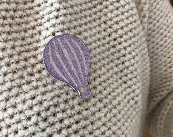 Purple hot air balloon pin