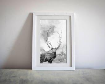 Watercolor Deer Print Animal Digital Drawing Printable Artwork Black And White Downloadable Painting Custom Illustration Home Decor Deer Art