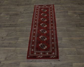 Beautiful Design Handmade Runner Turkoman Persian Area Rug Oriental Carpet 2X6