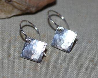 Sterling Silver Earrings Hammered Silver Rustic Jewelry Textured Square