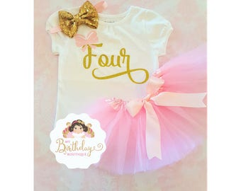 Pink and Gold 4th birthday outfit,4th birthday outfit,Fourth birthday girl outfit,pink birthday tutu,pink tutu,girl birthday outfit