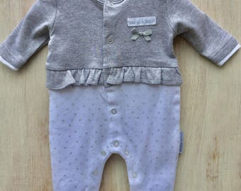 Grey Marl and White Polka Stars girls Peplum Romper.